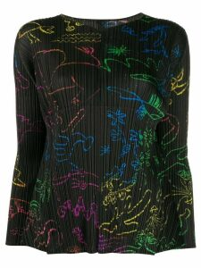 Pleats Please Issey Miyake illustration print pleated blouse - Black