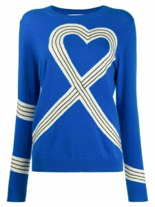 Chinti and Parker heart-motif knitted jumper - Blue