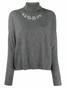 LIU JO embellished roll-neck jumper - Grey