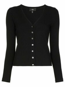 3x1 V-neck ribbed cardigan - Black