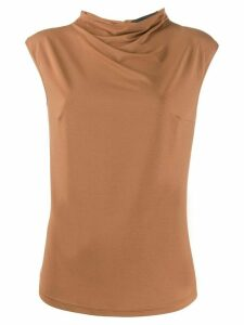 Styland short sleeved roll neck top - Brown