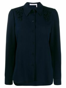 See by Chloé embroidered long-sleeve shirt - Blue