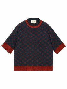 Gucci Interlocking G jacquard-knit top - Blue