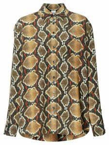 Burberry python print buttoned shirt - NEUTRALS