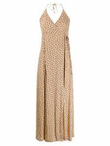 GANNI printed spaghetti strap dress - NEUTRALS