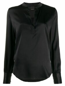 Pinko Petrali band-collar satin blouse - Black