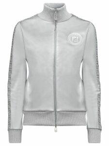 Fendi FF motif metallic zipped jacket - SILVER