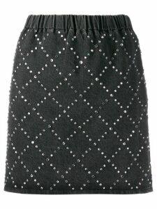 Miu Miu rhinestone diamond check mini skirt - Grey