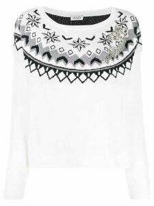LIU JO embroidered long-sleeve jumper - White