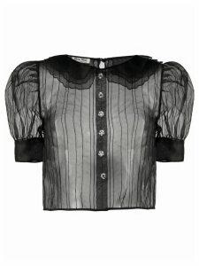 Miu Miu sheer striped blouse - Black