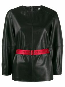 Karl Lagerfeld contrast belted top - Black