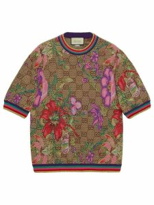 Gucci floral print monogram T-shirt - Brown