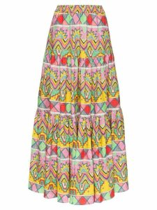 Mira Mikati abstract print maxi skirt - White