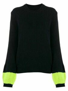 Chinti and Parker ribbed knit contrast-sleeve jumper - Blue