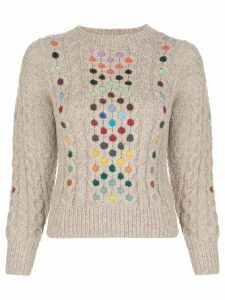 Rosie Assoulin contrasting cable-knit jumper - NEUTRALS