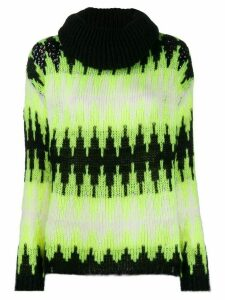 SO ALLURE zigzag-knit roll-neck sweater - Yellow
