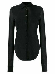 Jil Sander sheer curved-hem shirt - Black