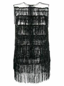 Halpern fringed sleeveless top - Black