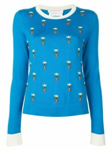 Carolina Herrera floral embroidered jumper - Blue