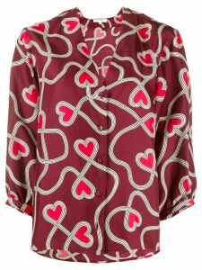 Chinti and Parker heart print blouse - Red