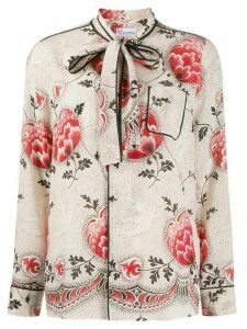Red Valentino floral print pyjama-style shirt - NEUTRALS