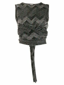 M Missoni glitter knit wrap top - Black