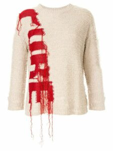 PortsPURE destroyed intarsia jumpers - White
