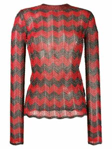 M Missoni zig zag lurex jumper - Red