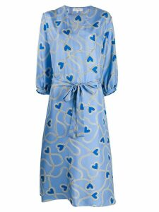 Chinti and Parker silk heart-print dress - Blue
