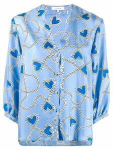 Chinti and Parker heart print blouse - Blue