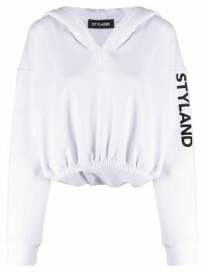Styland cropped logo hoodie - White