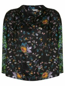 Anntian printed silk blouse - Black