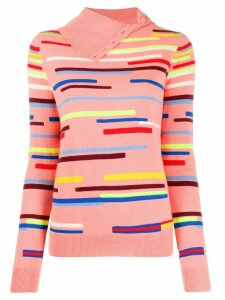 Chinti & Parker striped button-neck jumper - PINK