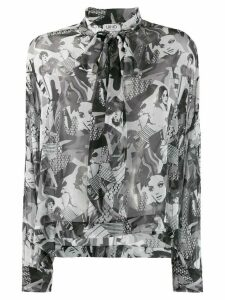 LIU JO portrait-print crepeon blouse - White