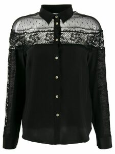 Red Valentino crochet panel long-sleeved blouse - Black