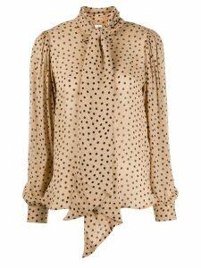 GANNI printed georgette shirt - NEUTRALS