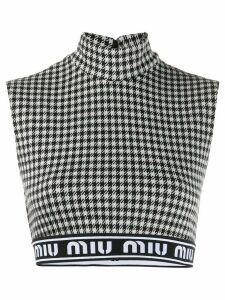 Miu Miu houndstooth crop top - Black