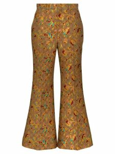 Gucci floral-jacquard logo flared trousers - Brown