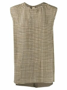 Marni square print sleeveless blouse - NEUTRALS