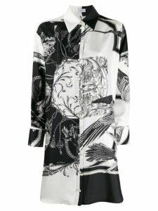 Salvatore Ferragamo floral print long-line shirt - Black