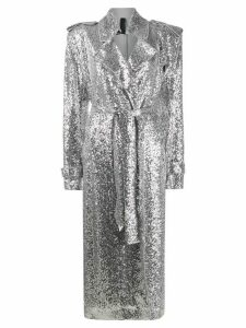 Norma Kamali sequinned trench coat - SILVER