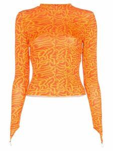 Maisie Wilen crew neck wave print top - ORANGE