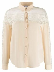RedValentino crochet panel long-sleeved blouse - NEUTRALS