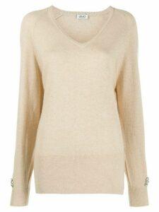 LIU JO long-sleeve fitted jumper - NEUTRALS