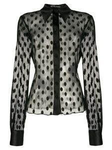 Styland sheer dotted blouse - Black