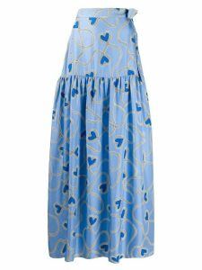 Chinti and Parker heart print full skirt - Blue
