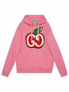 Gucci GG apple print hoodie - PINK