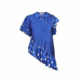 JIRI KALFAR - Navy Blue & White Stripe Blouse