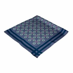 Nuni Ryder Design - Daisy Check Square Scarf Royal Sailor Blue