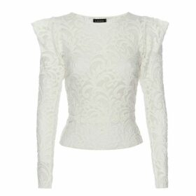 LAHIVE - Danni Winter White Semi Sheer Stretch Lace Top